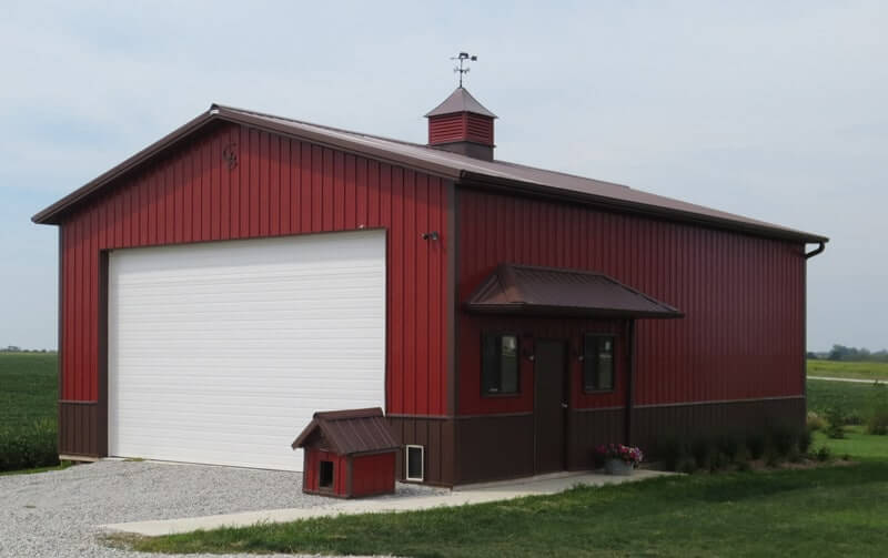Residential garage and hobby gallery in iowa illinois for Red metal barn